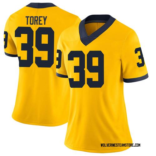 Women's Matt Torey Michigan Wolverines Limited Brand Jordan Maize Football College Jersey