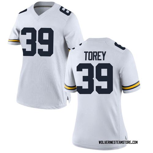 Women's Matt Torey Michigan Wolverines Replica White Brand Jordan Football College Jersey
