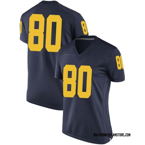 Women's Mike Morris Michigan Wolverines Replica Navy Brand Jordan Football College Jersey