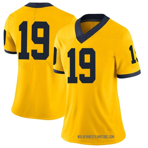 Women's Mike Sainristil Michigan Wolverines Limited Brand Jordan Maize Football College Jersey