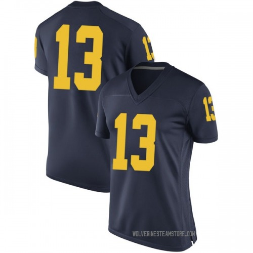 Women's Moritz Wagner Michigan Wolverines Game Navy Brand Jordan Football College Jersey