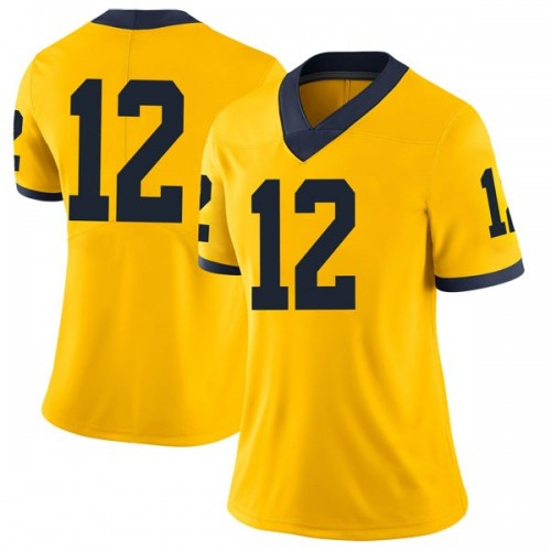 Women's Muhammad-Ali Abdur-Rahkman Michigan Wolverines Limited Brand Jordan Maize Football College Jersey