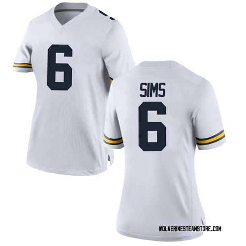 Women's Myles Sims Michigan Wolverines Game White Brand Jordan Football College Jersey