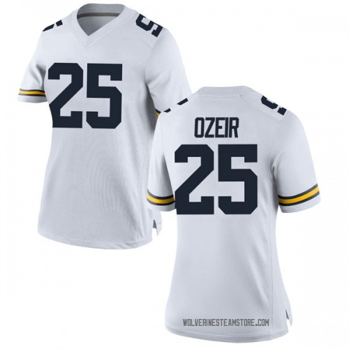 Women's Naji Ozeir Michigan Wolverines Game White Brand Jordan Football College Jersey