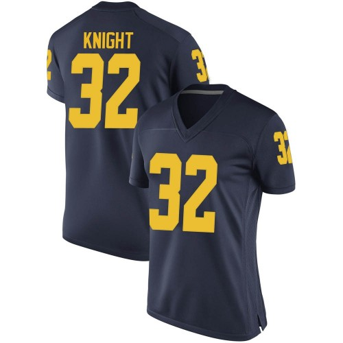 Women's Nolan Knight Michigan Wolverines Game Navy Brand Jordan Football College Jersey