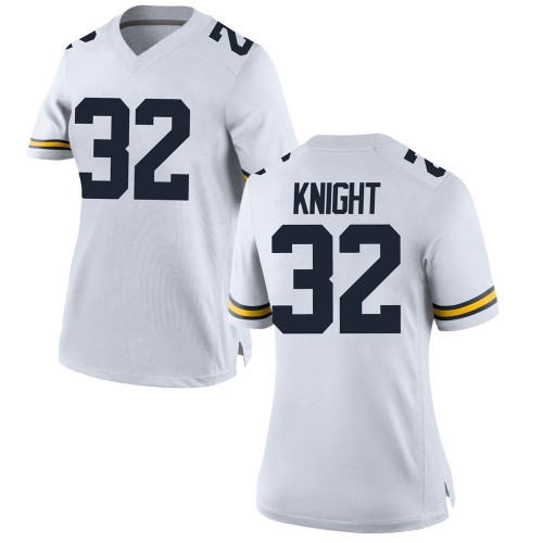 Women's Nolan Knight Michigan Wolverines Game White Brand Jordan Football College Jersey