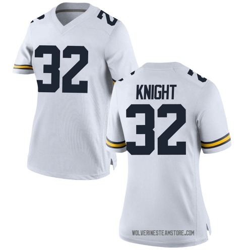 Women's Nolan Knight Michigan Wolverines Replica White Brand Jordan Football College Jersey