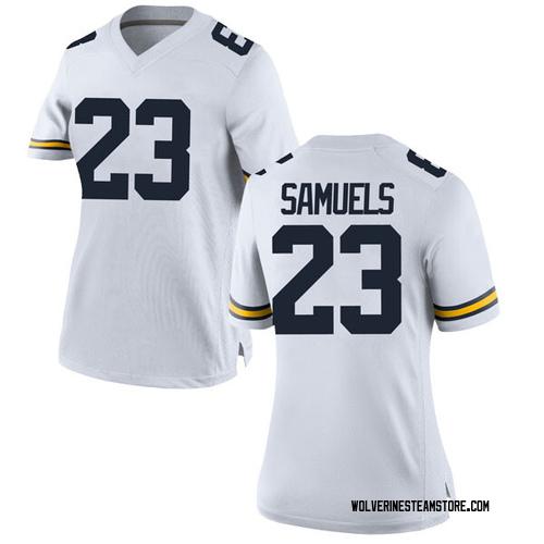 Women's Omaury Samuels Michigan Wolverines Game White Brand Jordan Football College Jersey