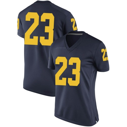 Women's Quinten Johnson Michigan Wolverines Game Navy Brand Jordan Football College Jersey