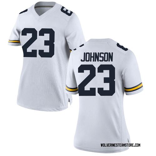 Women's Quinten Johnson Michigan Wolverines Replica White Brand Jordan Football College Jersey