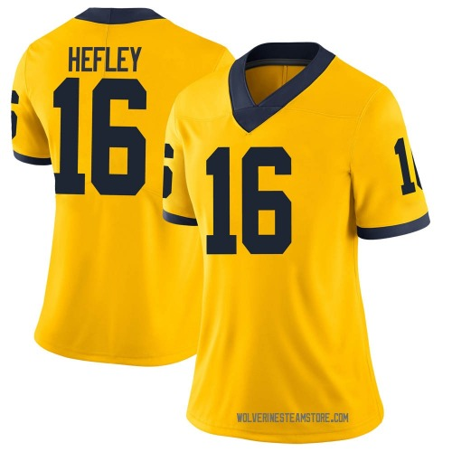 Women's Ren Hefley Michigan Wolverines Limited Brand Jordan Maize Football College Jersey