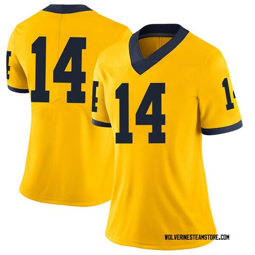 Women's Rico Ozuna-Harrison Michigan Wolverines Limited Brand Jordan Maize Football College Jersey