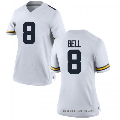 Women's Ronnie Bell Michigan Wolverines Replica White Brand Jordan Football College Jersey