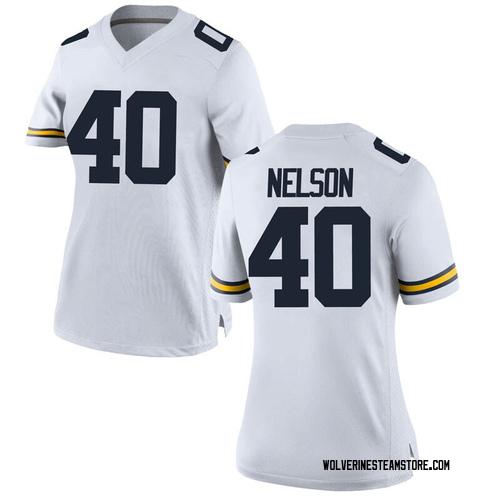 Women's Ryan Nelson Michigan Wolverines Game White Brand Jordan Football College Jersey