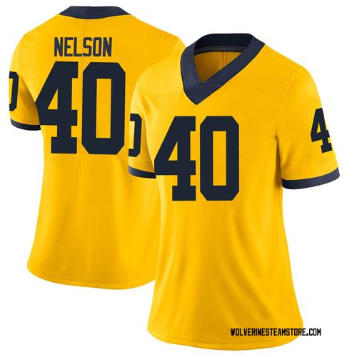 Women's Ryan Nelson Michigan Wolverines Limited Brand Jordan Maize Football College Jersey