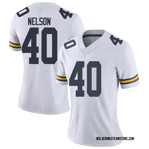 Women's Ryan Nelson Michigan Wolverines Limited White Brand Jordan Football College Jersey