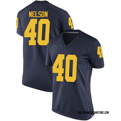 Women's Ryan Nelson Michigan Wolverines Replica Navy Brand Jordan Football College Jersey