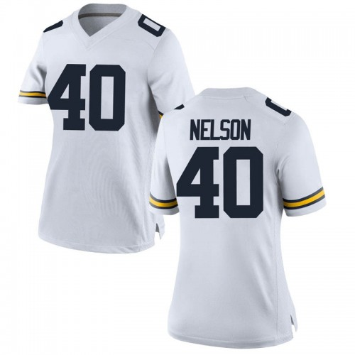 Women's Ryan Nelson Michigan Wolverines Replica White Brand Jordan Football College Jersey