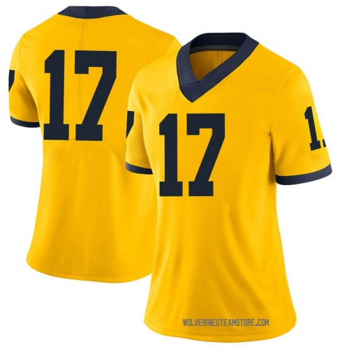Women's Sammy Faustin Michigan Wolverines Limited Brand Jordan Maize Football College Jersey