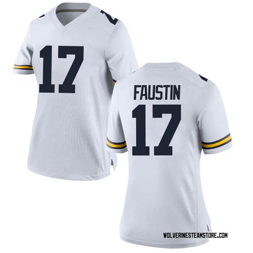 Women's Sammy Faustin Michigan Wolverines Replica White Brand Jordan Football College Jersey