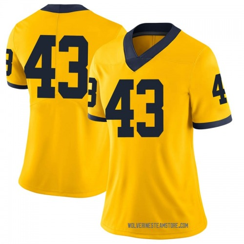 Women's Tyler Grosz Michigan Wolverines Limited Brand Jordan Maize Football College Jersey