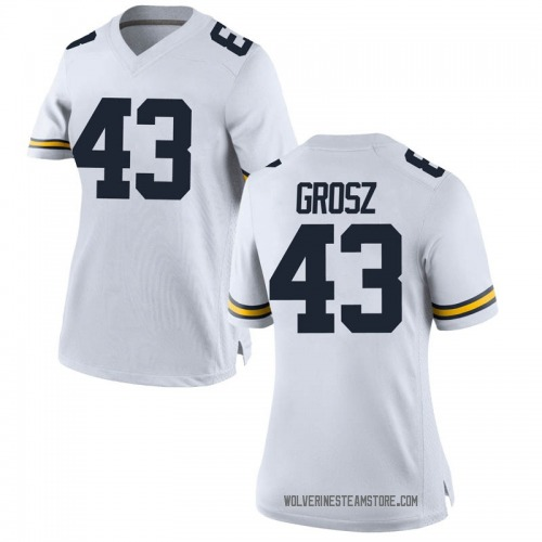 Women's Tyler Grosz Michigan Wolverines Replica White Brand Jordan Football College Jersey