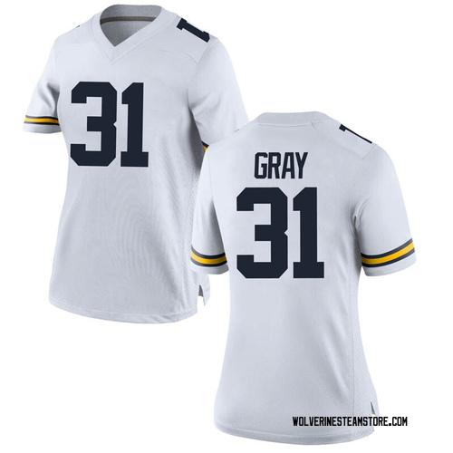 Women's Vincent Gray Michigan Wolverines Replica White Brand Jordan Football College Jersey