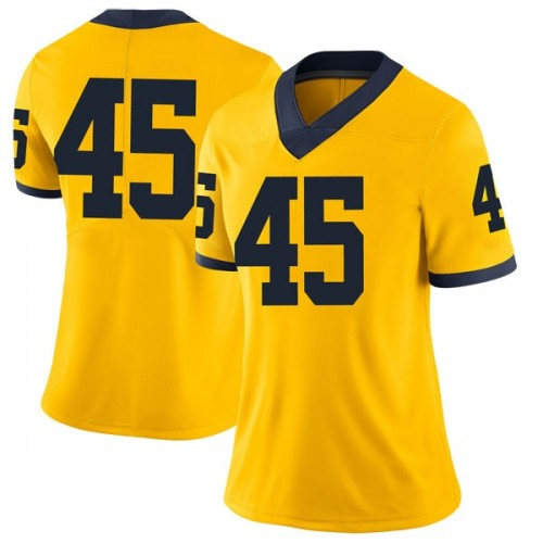 Women's William Holton Michigan Wolverines Limited Brand Jordan Maize Football College Jersey