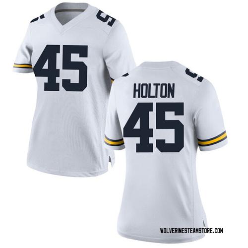 Women's William Holton Michigan Wolverines Replica White Brand Jordan Football College Jersey