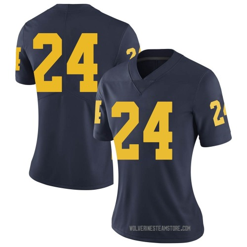 Women's Zach Charbonnet Michigan Wolverines Limited Navy Brand Jordan Football College Jersey