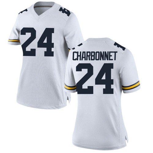 Women's Zach Charbonnet Michigan Wolverines Replica White Brand Jordan Football College Jersey