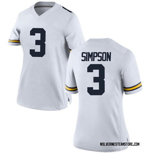 Women's Zavier Simpson Michigan Wolverines Game White Brand Jordan Football College Jersey