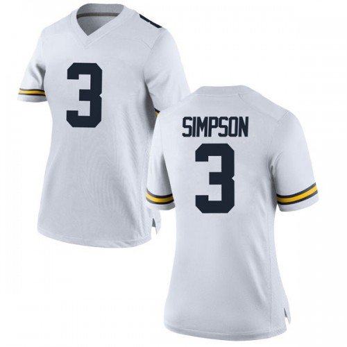 Women's Zavier Simpson Michigan Wolverines Replica White Brand Jordan Football College Jersey