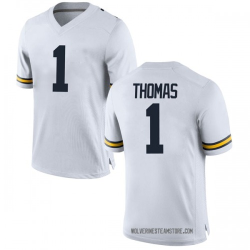 Youth Ambry Thomas Michigan Wolverines Replica White Brand Jordan Football College Jersey