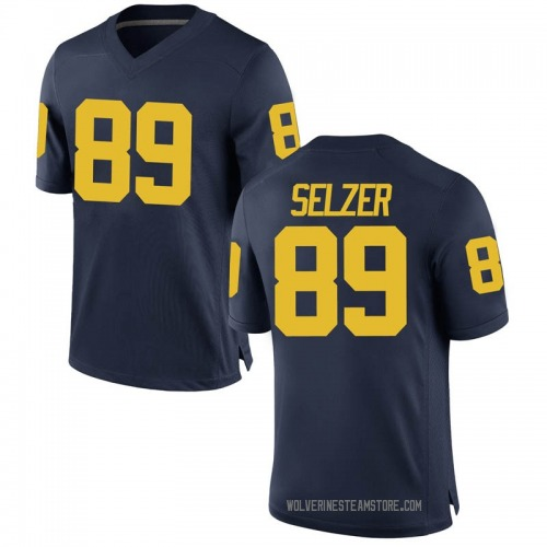 Youth Carter Selzer Michigan Wolverines Replica Navy Brand Jordan Football College Jersey