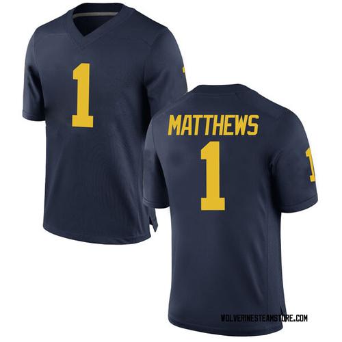 Youth Charles Matthews Michigan Wolverines Game Navy Brand Jordan Football College Jersey