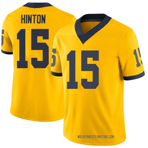 Youth Christopher Hinton Michigan Wolverines Limited Brand Jordan Maize Football College Jersey