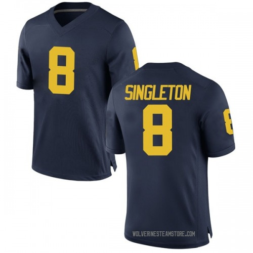 Youth Drew Singleton Michigan Wolverines Game Navy Brand Jordan Football College Jersey
