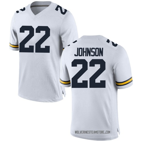 Youth George Johnson Michigan Wolverines Replica White Brand Jordan Football College Jersey