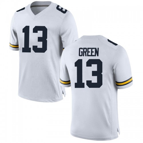 Youth German Green Michigan Wolverines Replica White Brand Jordan Football College Jersey