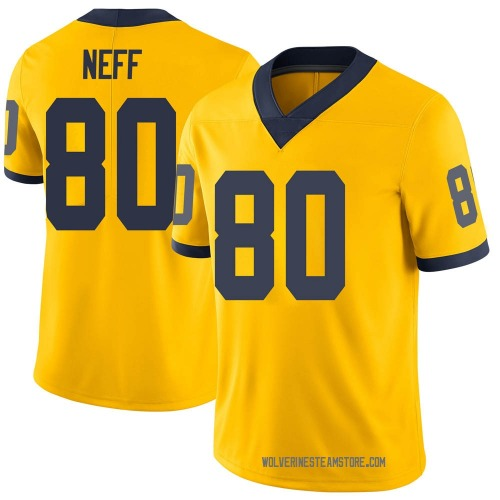 Youth Hunter Neff Michigan Wolverines Limited Brand Jordan Maize Football College Jersey