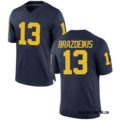 Youth Ignas Brazdeikis Michigan Wolverines Game Navy Brand Jordan Football College Jersey
