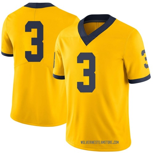 Youth Jalen Perry Michigan Wolverines Limited Brand Jordan Maize Football College Jersey