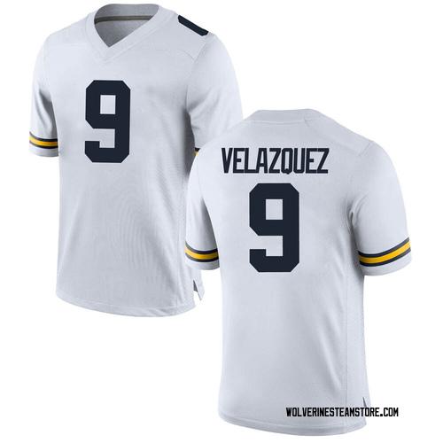 Youth Joey Velazquez Michigan Wolverines Game White Brand Jordan Football College Jersey