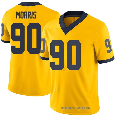 Youth Mike Morris Michigan Wolverines Limited Brand Jordan Maize Football College Jersey