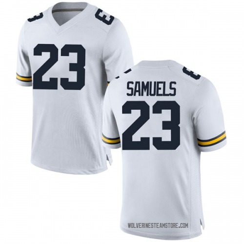 Youth Omaury Samuels Michigan Wolverines Replica White Brand Jordan Football College Jersey