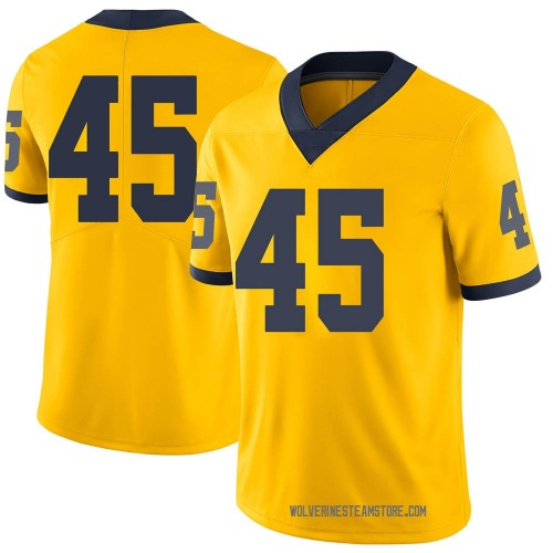 Youth Peter Bush Michigan Wolverines Limited Brand Jordan Maize Football College Jersey