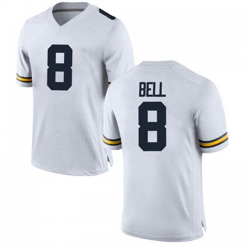 Youth Ronnie Bell Michigan Wolverines Replica White Brand Jordan Football College Jersey
