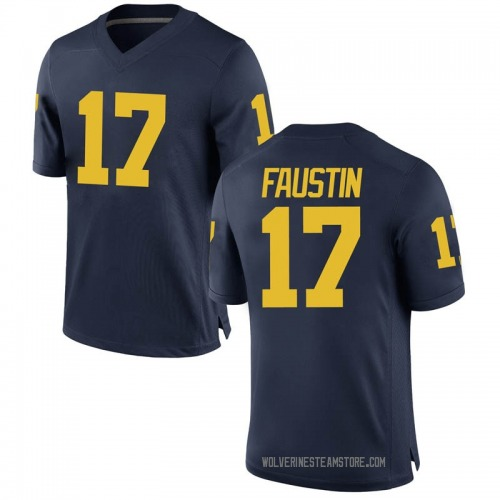 Youth Sammy Faustin Michigan Wolverines Replica Navy Brand Jordan Football College Jersey
