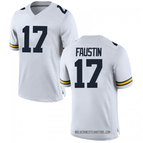 Youth Sammy Faustin Michigan Wolverines Replica White Brand Jordan Football College Jersey
